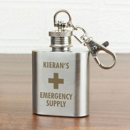 Emergency Supply 1oz Stainless Steel Hip Flask Keyring